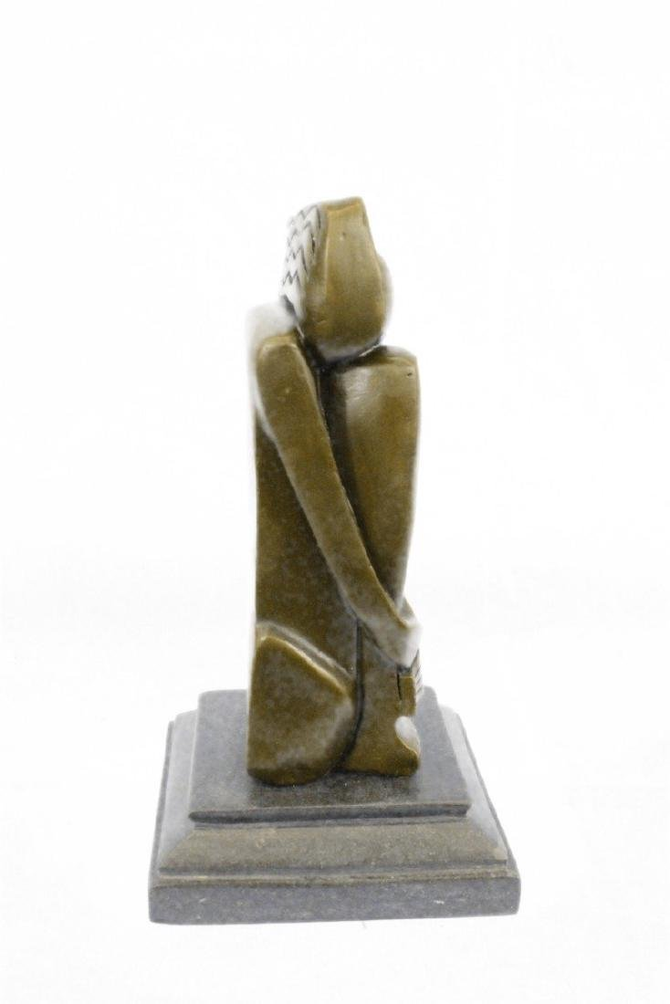 Woman Marble Base Bronze Figurine - 5