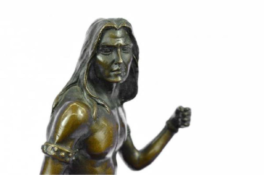 Nude Native American Warrior Bronze Statue - 6