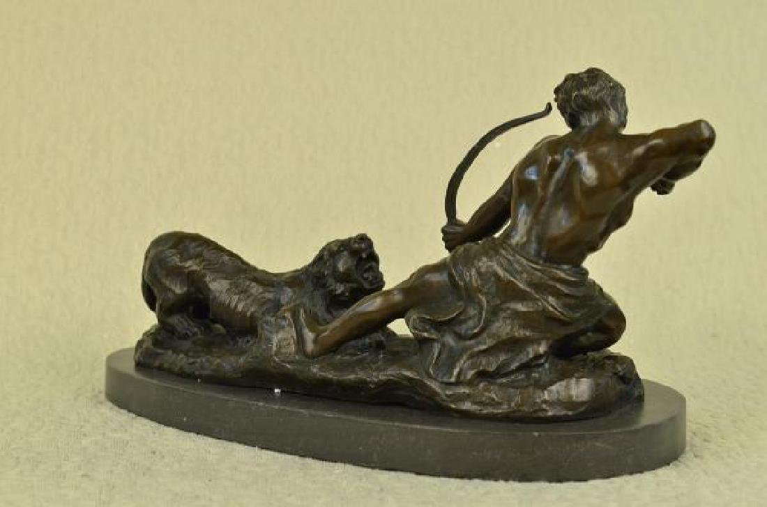 Man With Bow and Arrow Striking Lion Bronze Sculpture - 2