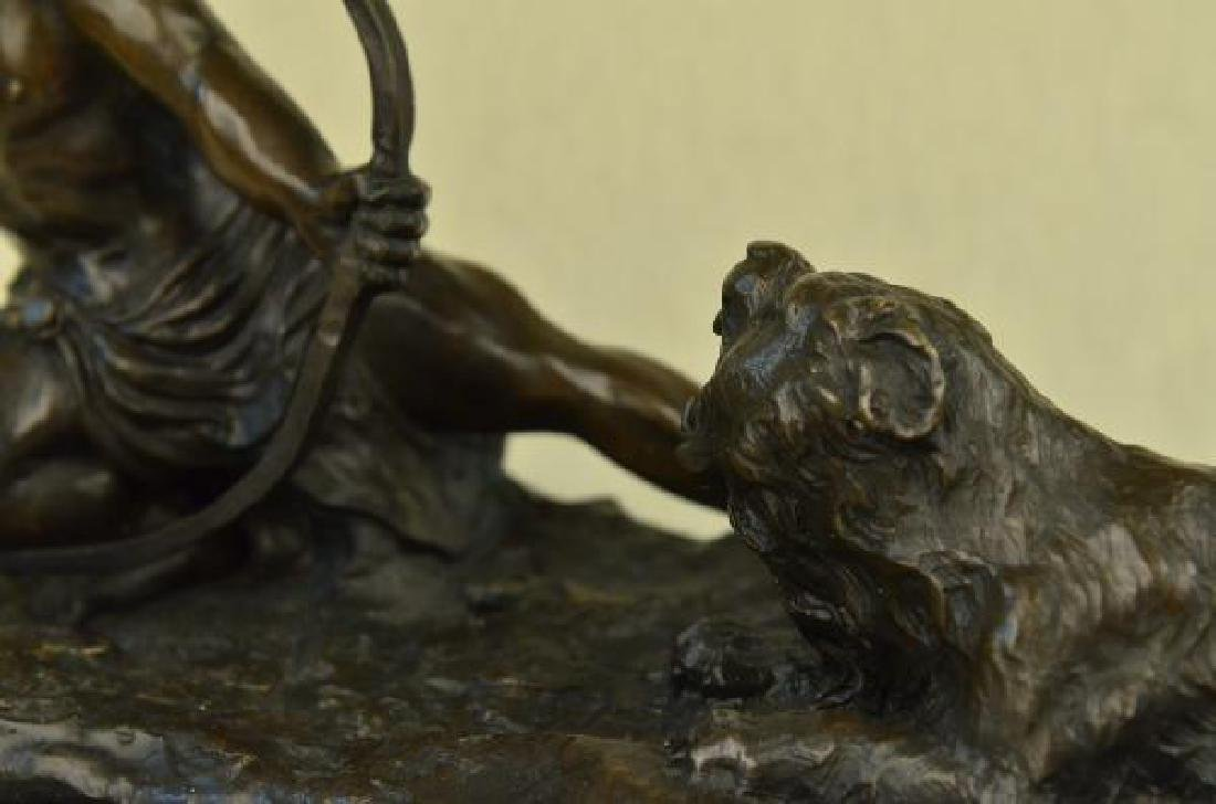 Man With Bow and Arrow Striking Lion Bronze Sculpture - 6