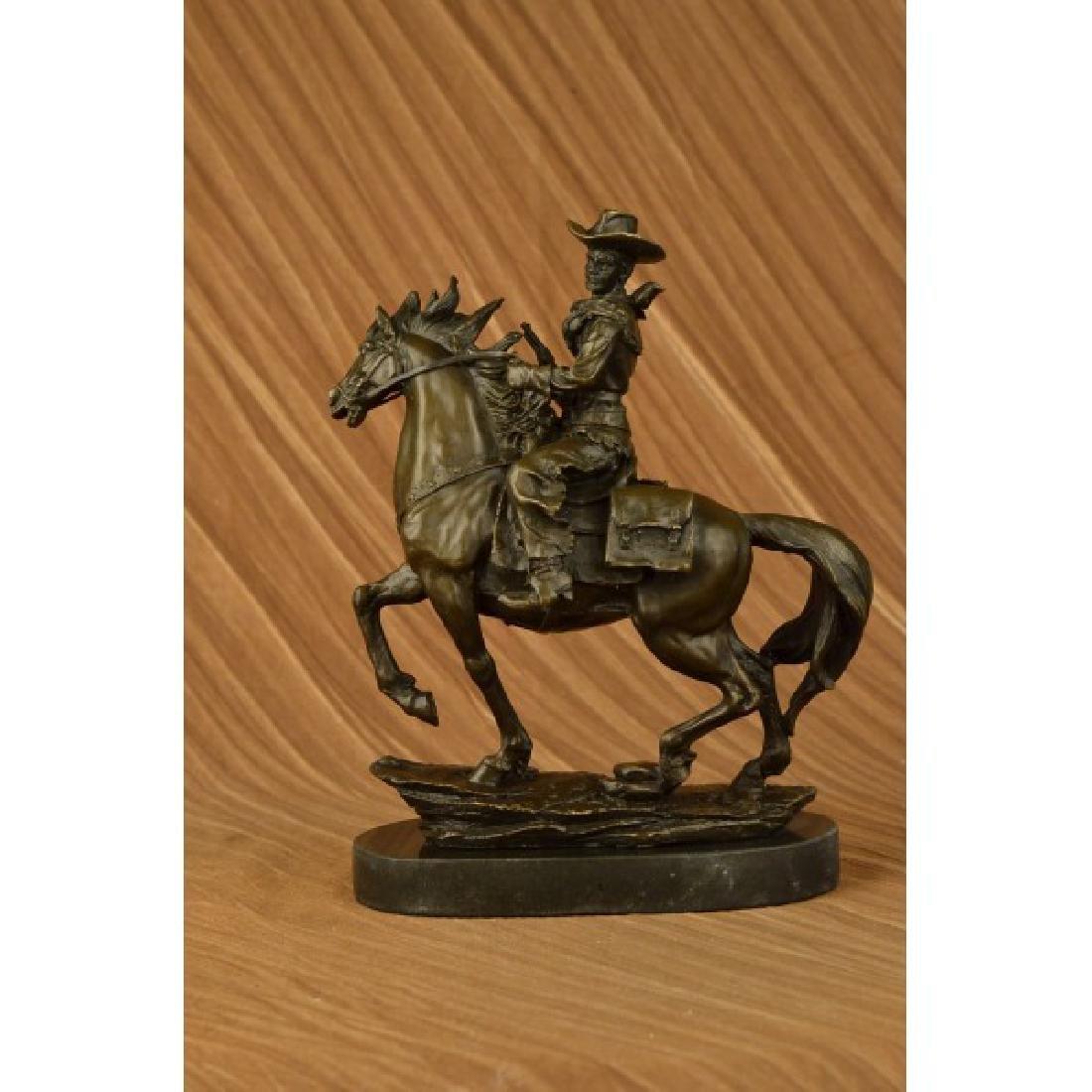 Western Cowboy Horse Bronze Sculpture on Marble Base