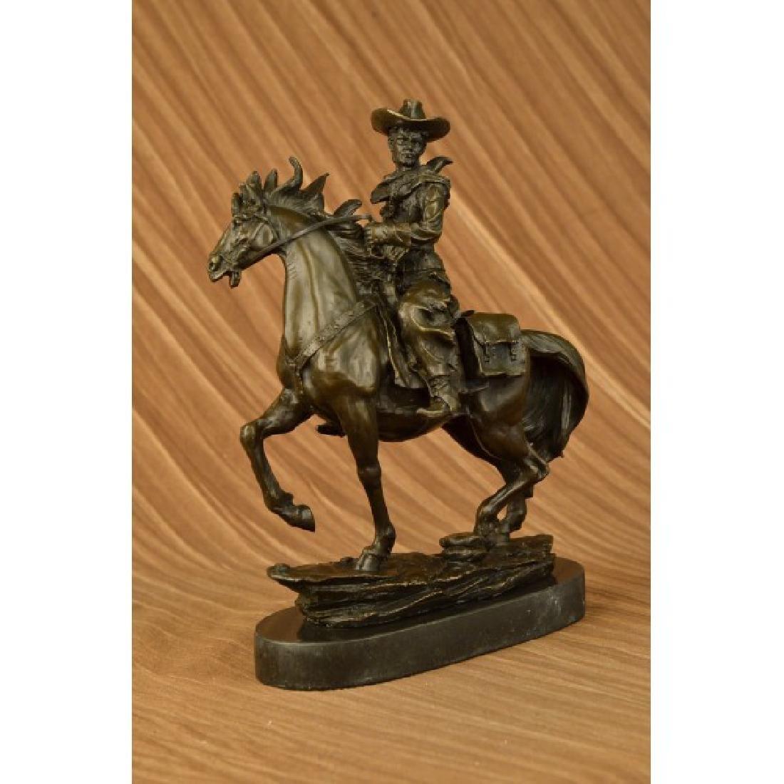 Western Cowboy Horse Bronze Sculpture on Marble Base - 2
