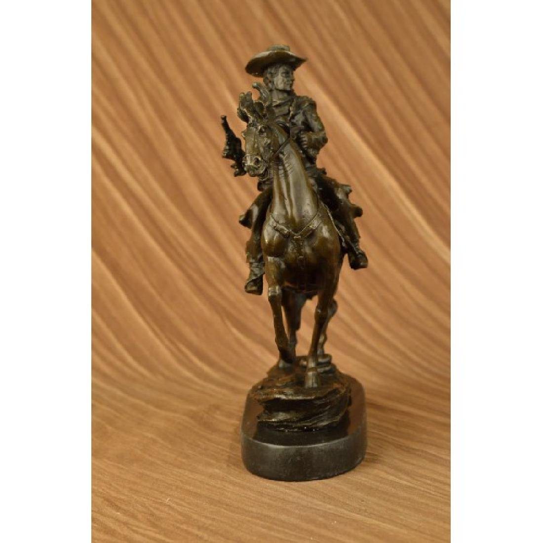 Western Cowboy Horse Bronze Sculpture on Marble Base - 3