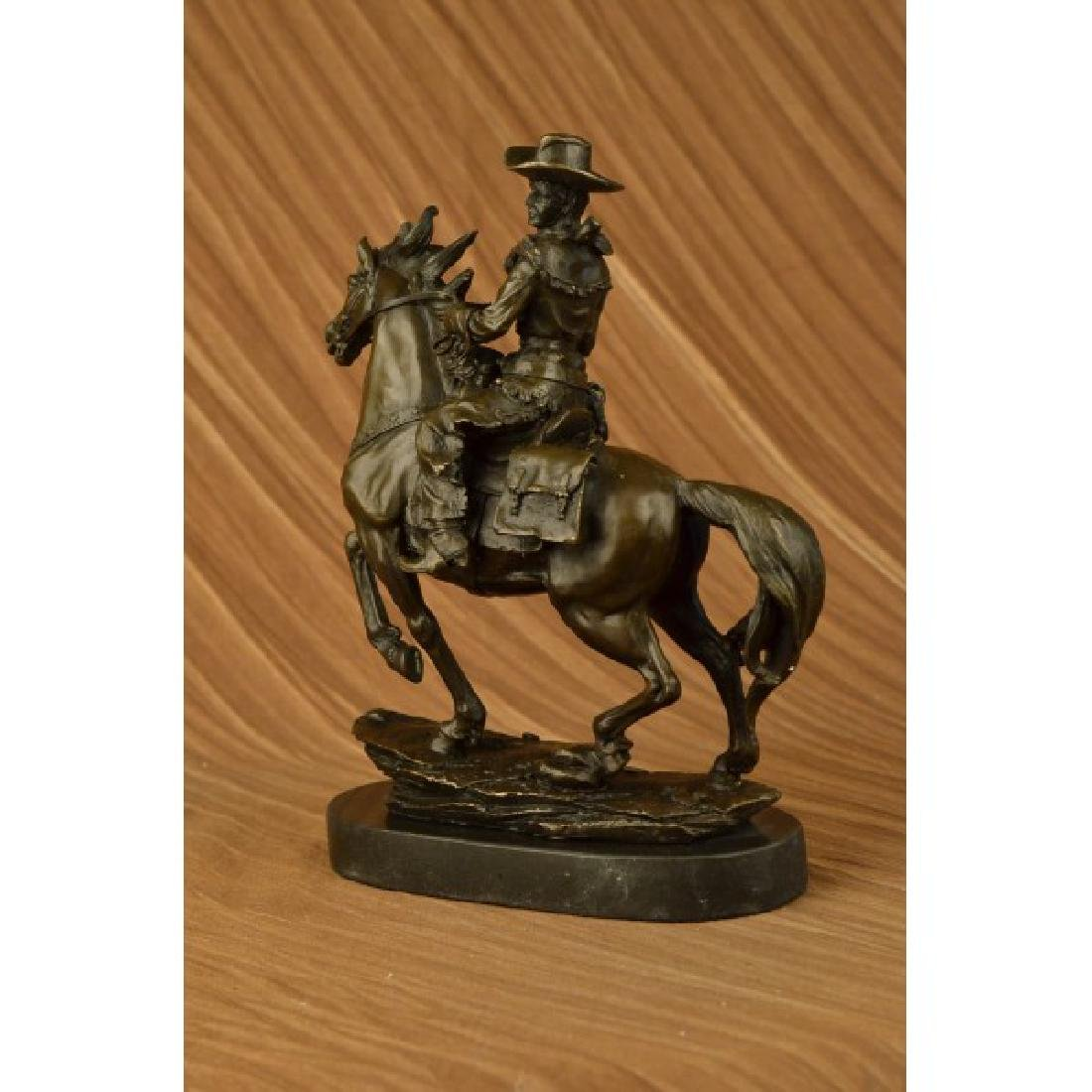 Western Cowboy Horse Bronze Sculpture on Marble Base - 4