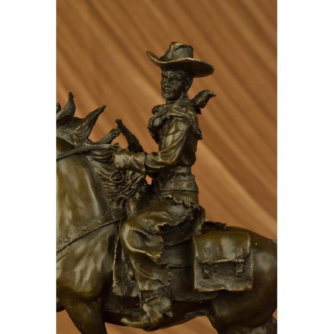 Western Cowboy Horse Bronze Sculpture on Marble Base - 5