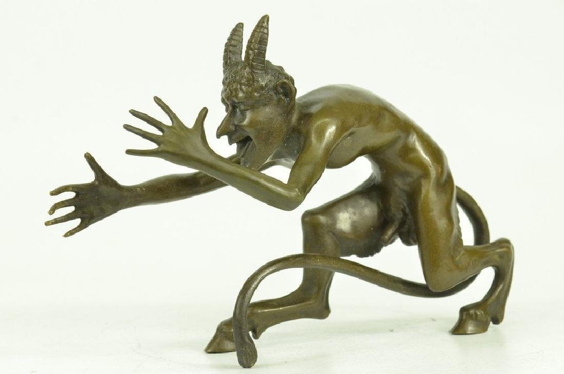 Satyr Diablo Faun Erotic Bronze Sculpture - 5