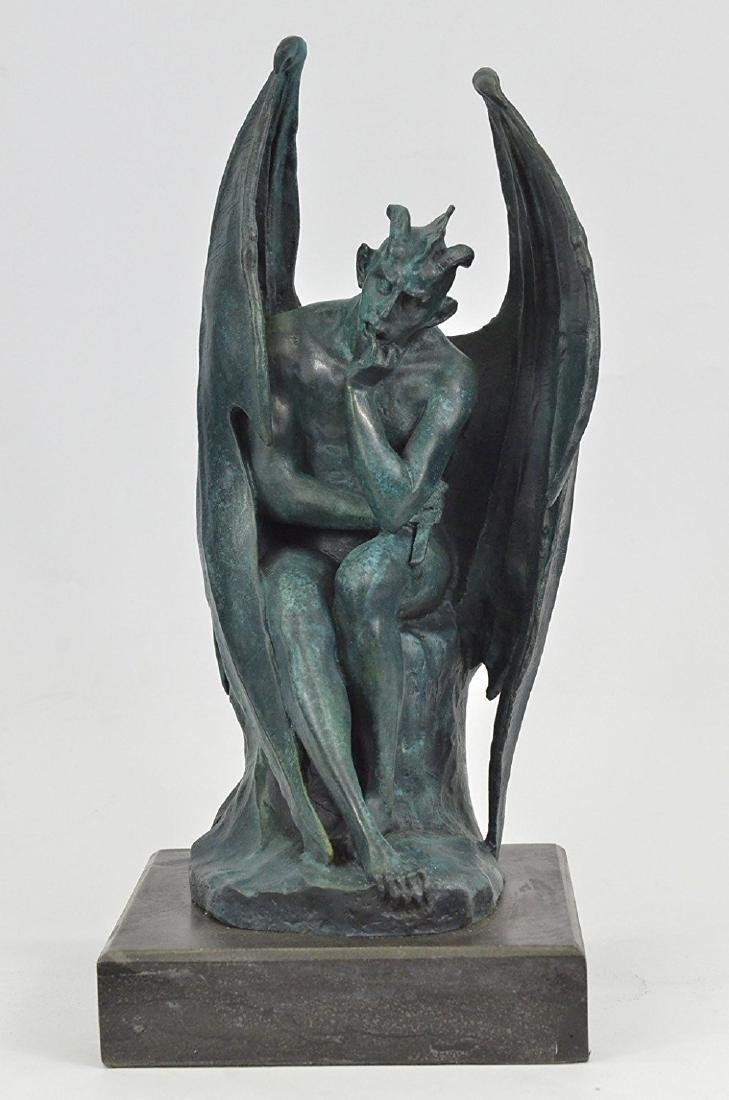 Devil Bronze Sculpture on Marble Base Figurine