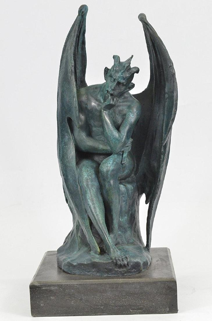 Devil Bronze Sculpture on Marble Base Figurine - 3