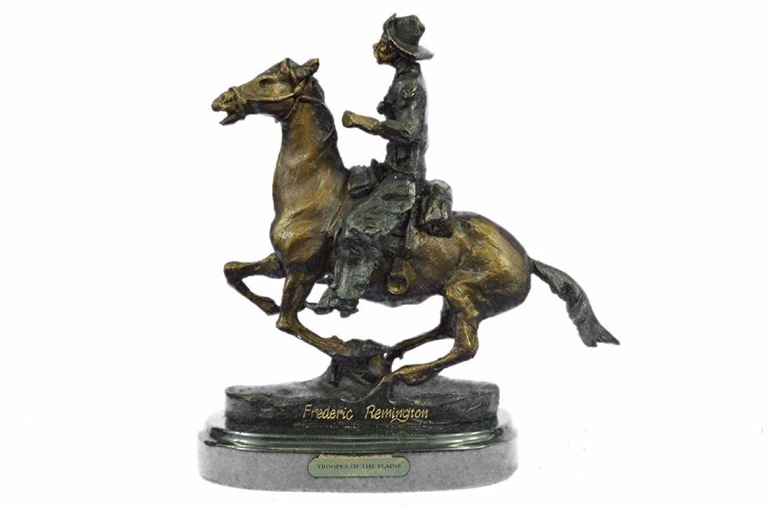 Cowboy on Horse Bronze Sculpture