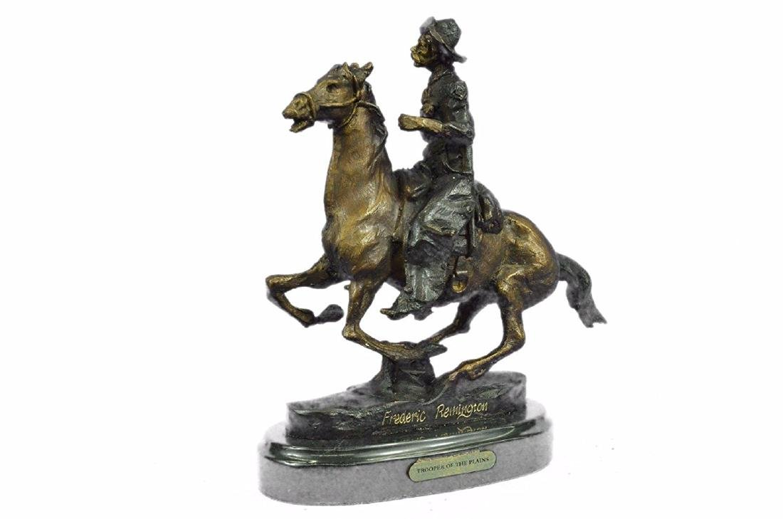 Cowboy on Horse Bronze Sculpture - 5