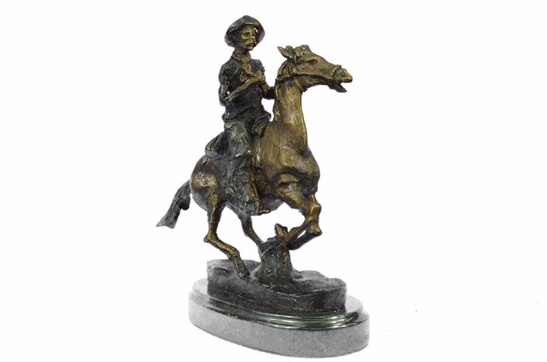 Cowboy on Horse Bronze Sculpture - 6