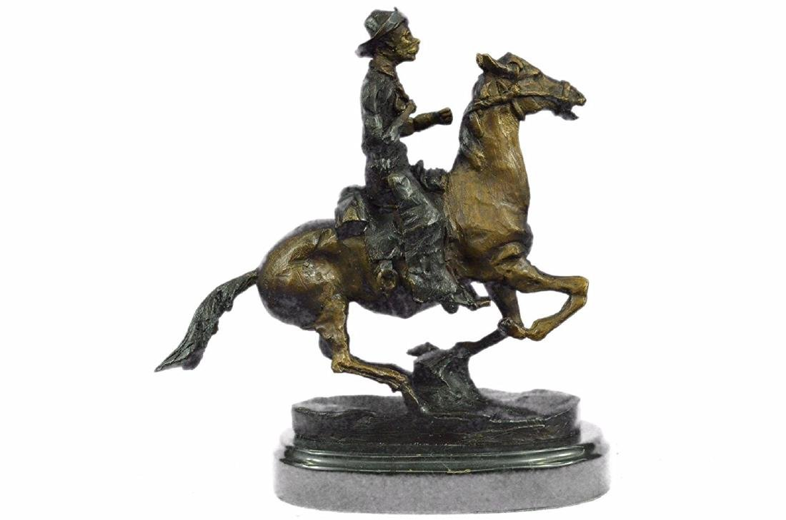 Cowboy on Horse Bronze Sculpture - 7