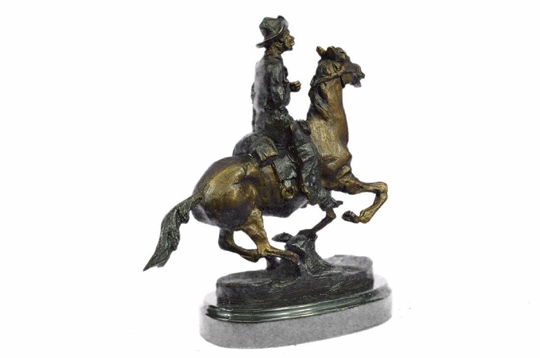 Cowboy on Horse Bronze Sculpture - 8