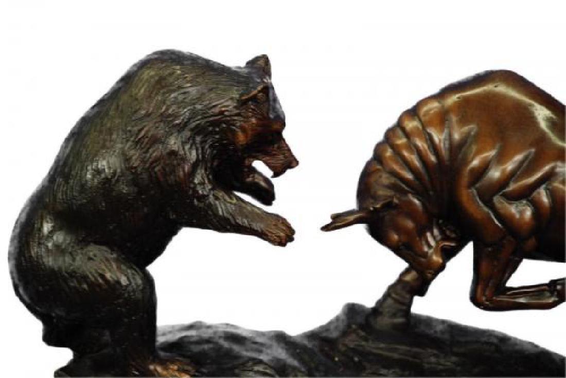 Bear and Bull Bronze Sculpture - 5