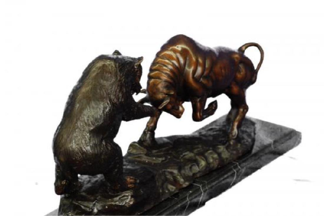 Bear and Bull Bronze Sculpture - 7