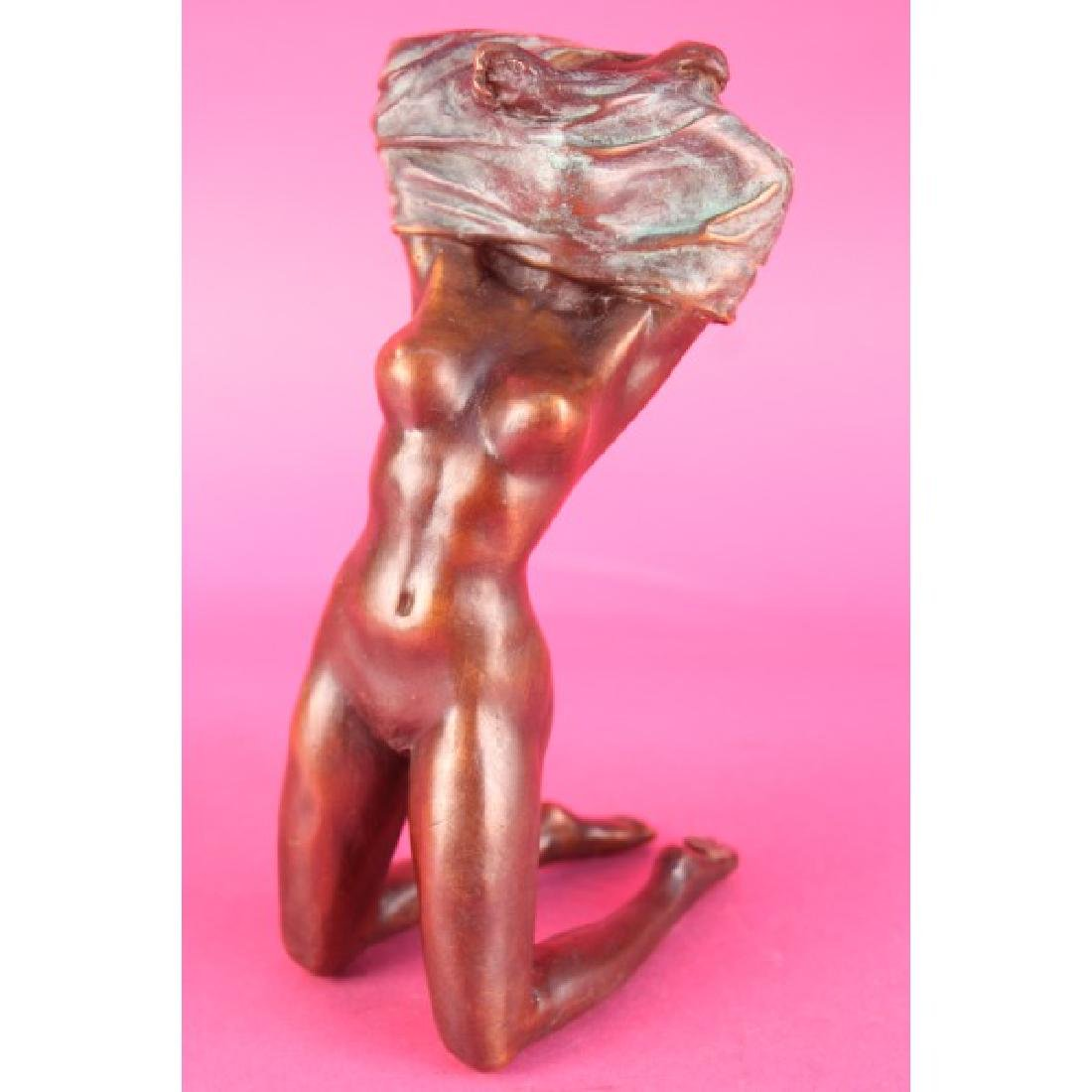 Signed Milo Nude Girl Beneath The Wind Bronze Sculpture