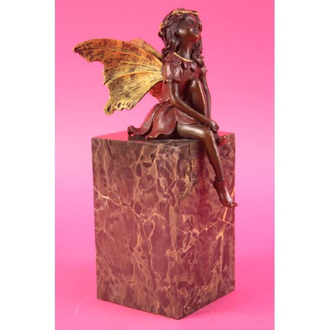 Vintage Austrian Vienna Bronze of Butterfly Girl Angel - 3