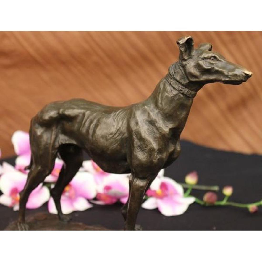 Signed Vintage GreyHound Bronze Statue Racing Dog Racer