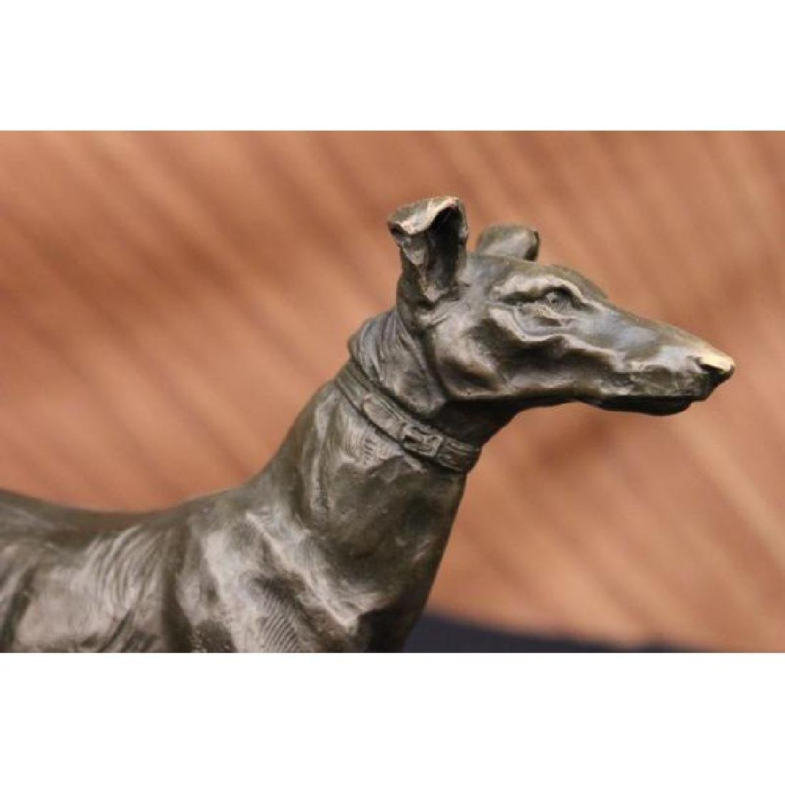 Signed Vintage GreyHound Bronze Statue Racing Dog Racer - 2