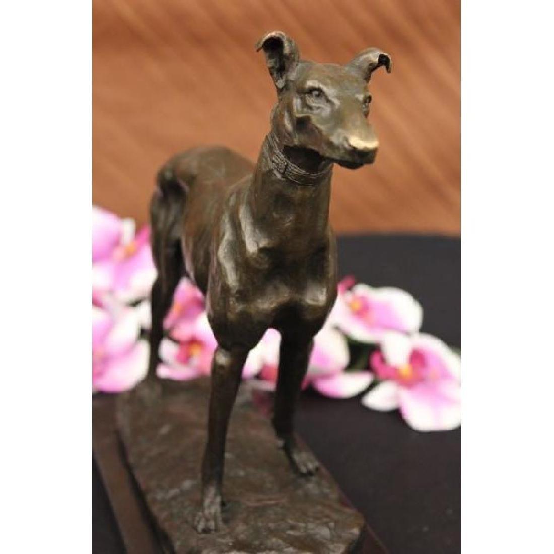 Signed Vintage GreyHound Bronze Statue Racing Dog Racer - 3