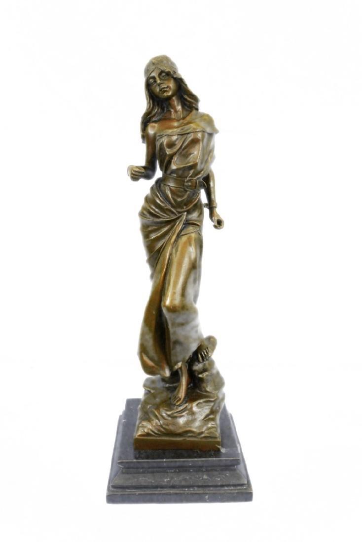 Native American Girl Bronze Sculpture