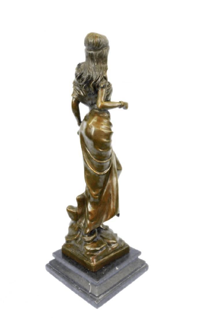 Native American Girl Bronze Sculpture - 7