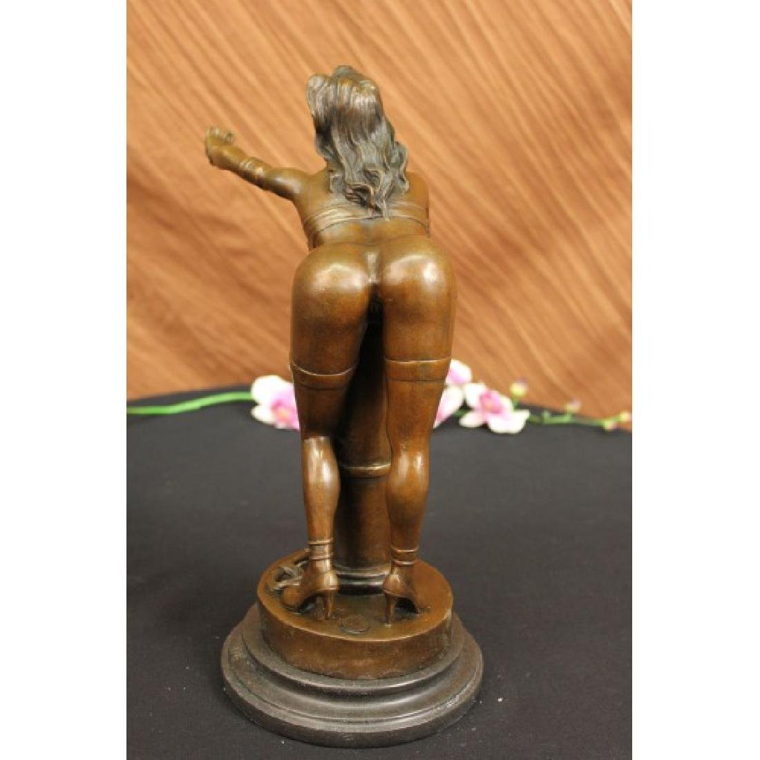 Nude Erotic Female Bonze Sculpture on Marble Base - 4