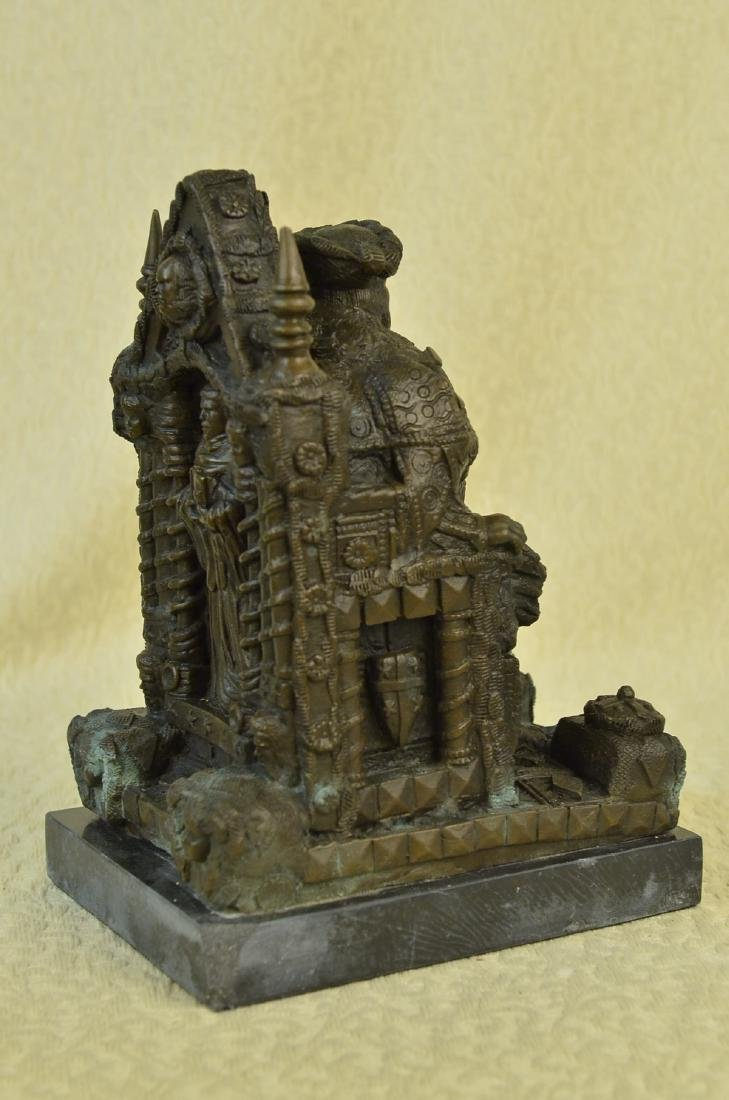 Russian King upon a Throne Bronze Sculpture - 7