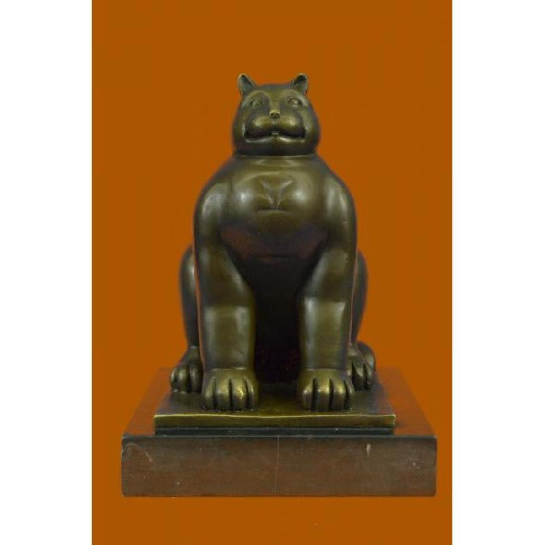 Modern Art Fat Cat by Spanish Artist Botero Bronze