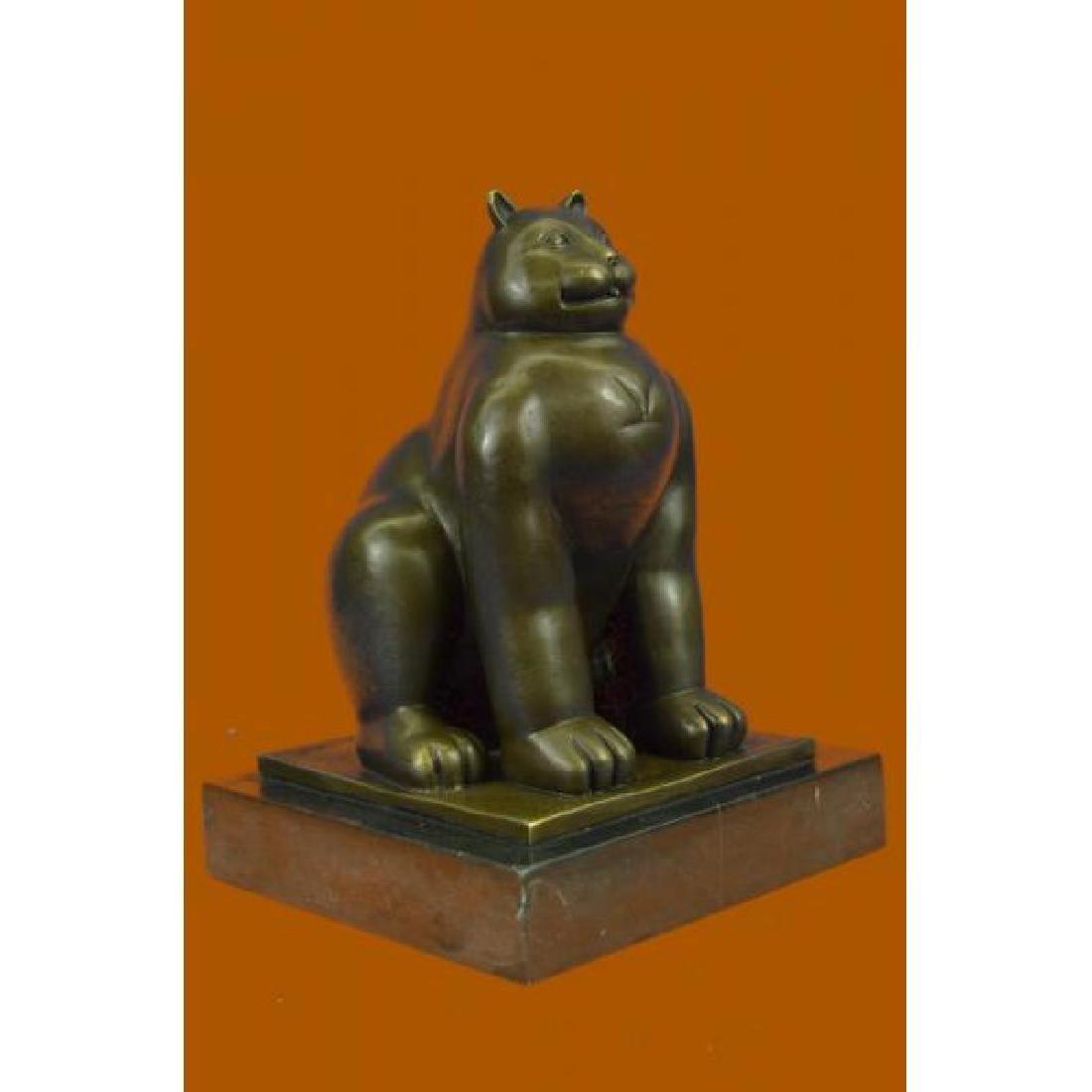 Modern Art Fat Cat by Spanish Artist Botero Bronze - 4