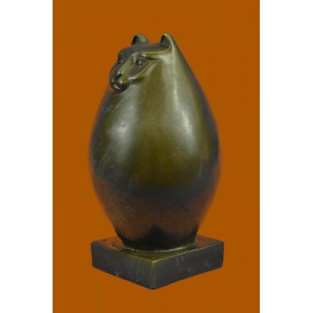 Handcrafted Detailed Hot Cast Cat by Botero Bronze - 2