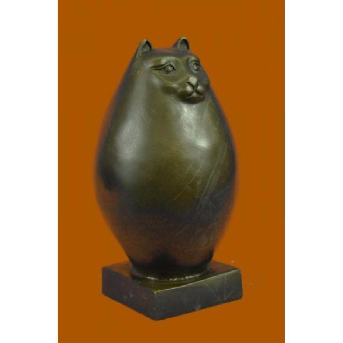 Handcrafted Detailed Hot Cast Cat by Botero Bronze - 4
