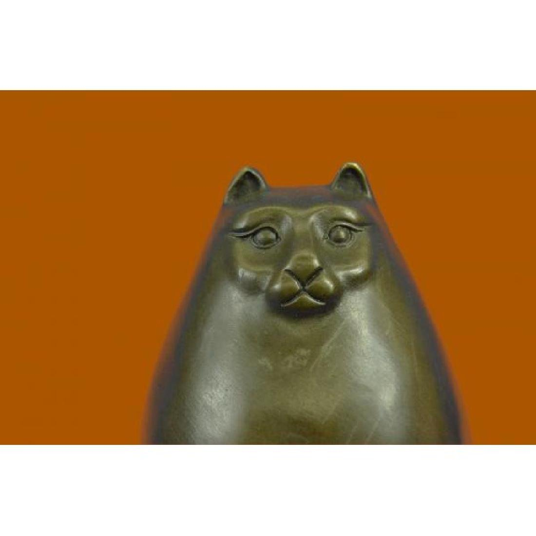 Handcrafted Detailed Hot Cast Cat by Botero Bronze - 5
