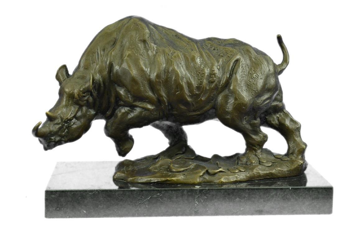 Signed Original Milo White Rhino Bronze Sculpture