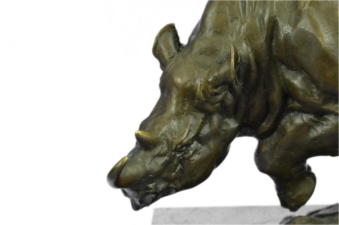 Signed Original Milo White Rhino Bronze Sculpture - 2