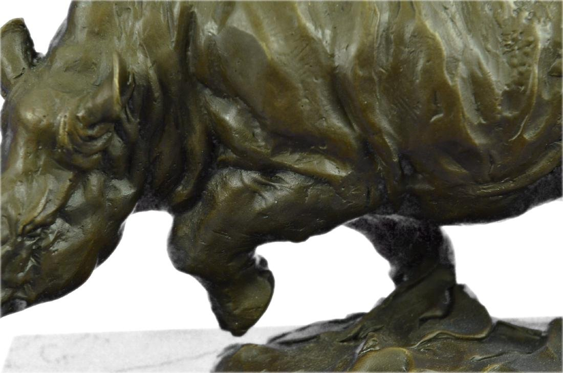 Signed Original Milo White Rhino Bronze Sculpture - 4