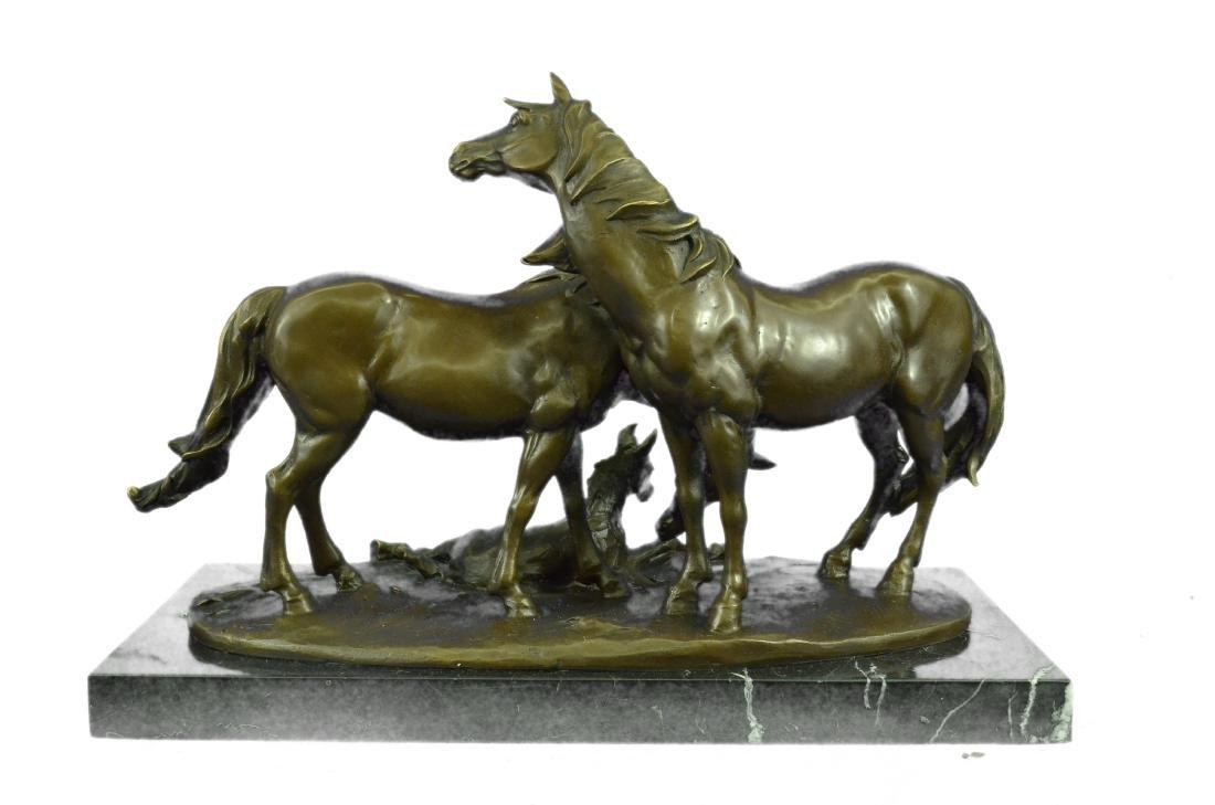HORSES HARMONY STALLION BRONZE SCULPTURE STATUE HOT - 9
