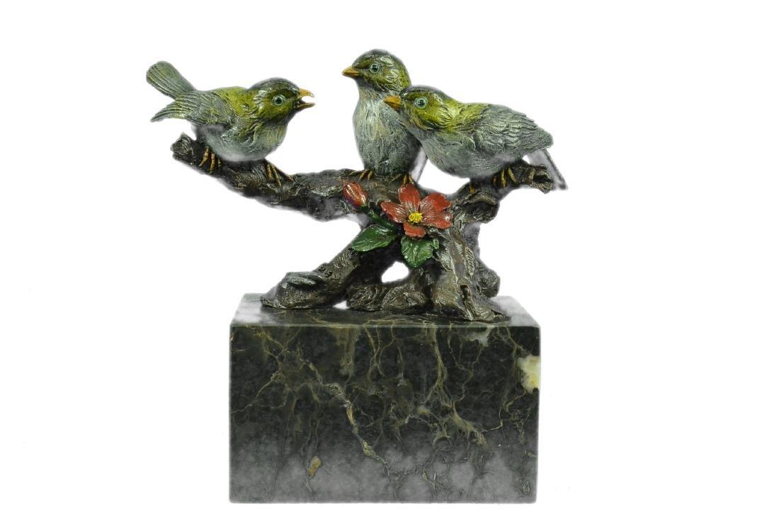 Bird of Paradise Bronze Sculpture Marble Base Figurine
