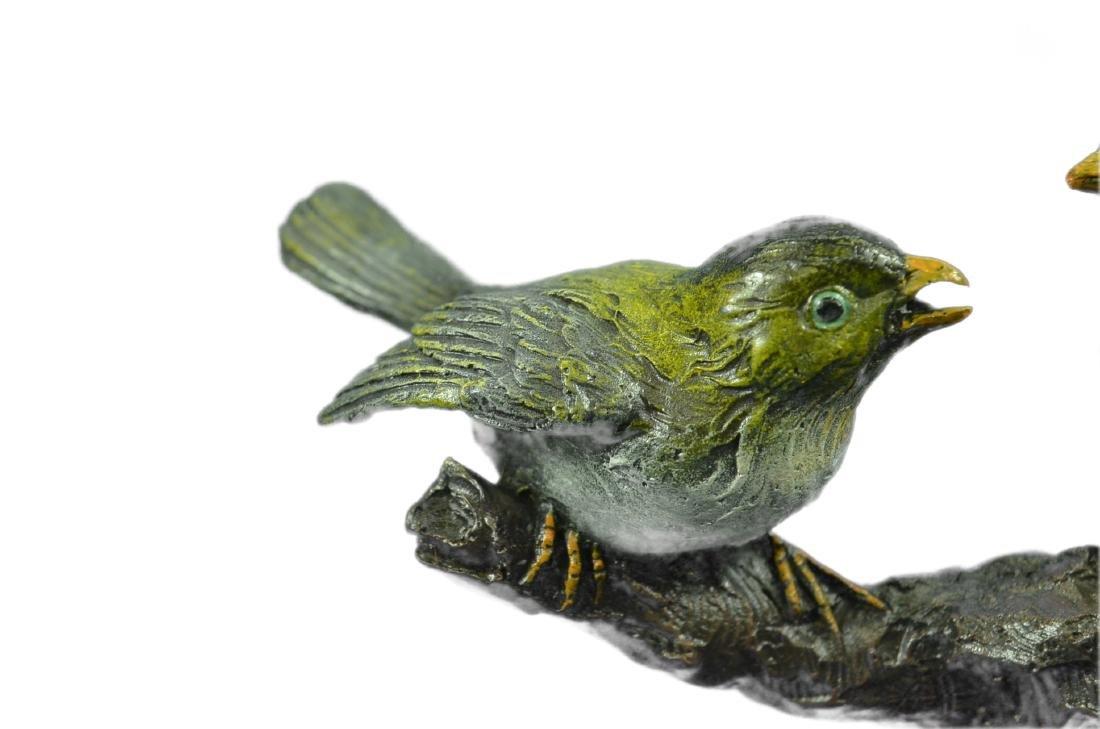 Bird of Paradise Bronze Sculpture Marble Base Figurine - 2