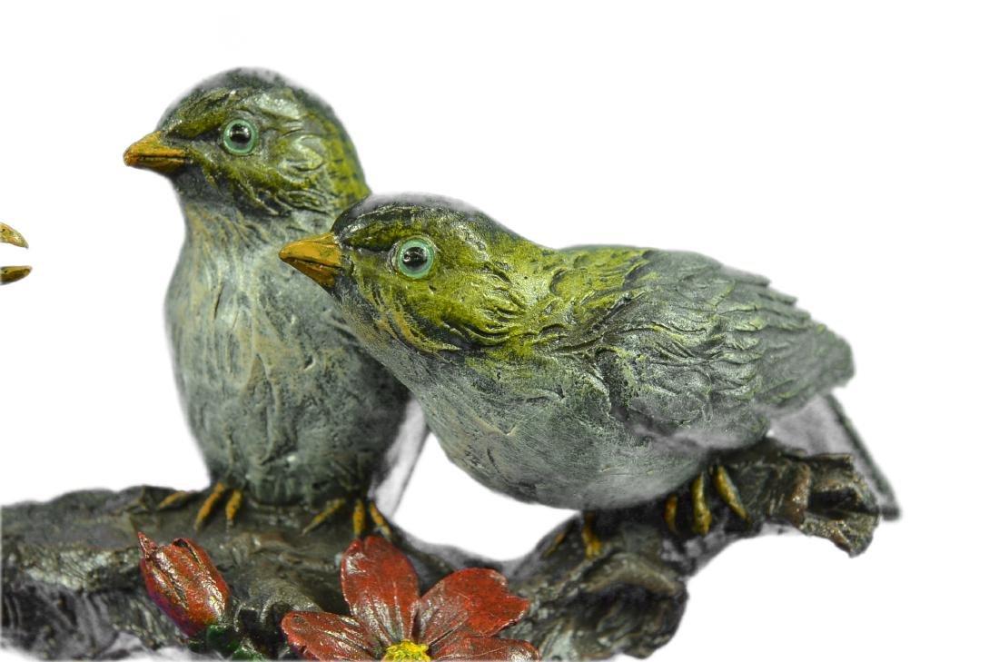 Bird of Paradise Bronze Sculpture Marble Base Figurine - 4