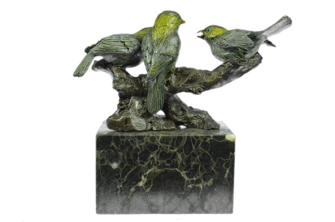 Bird of Paradise Bronze Sculpture Marble Base Figurine - 7