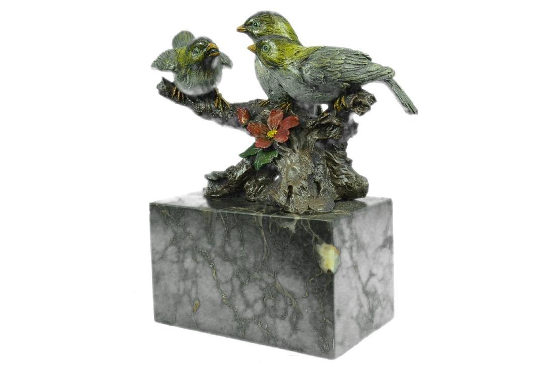 Bird of Paradise Bronze Sculpture Marble Base Figurine - 9