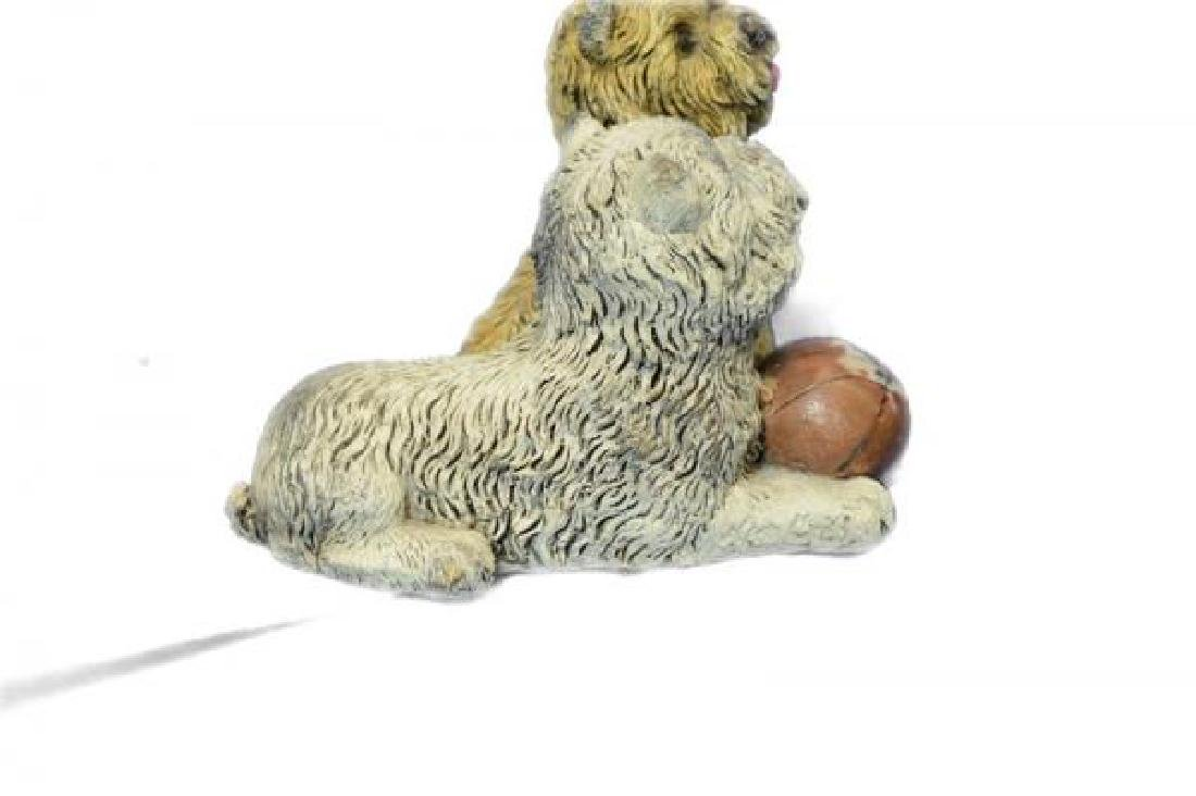 Two Sitting Terrier With A Ball Bronze Sculpture - 3