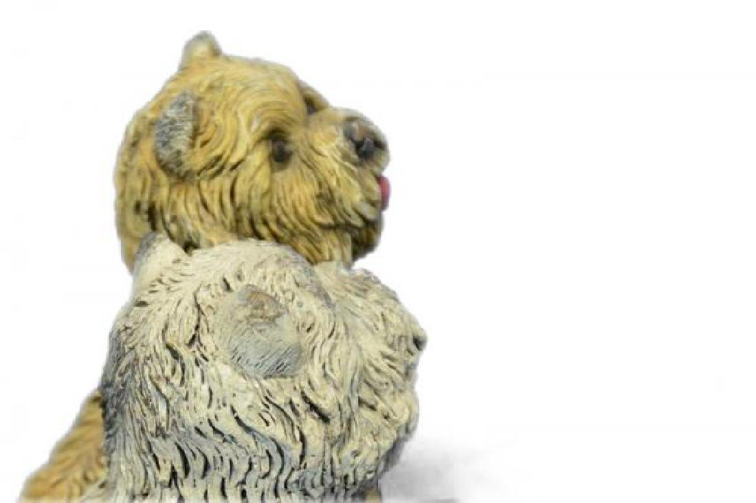 Two Sitting Terrier With A Ball Bronze Sculpture - 4