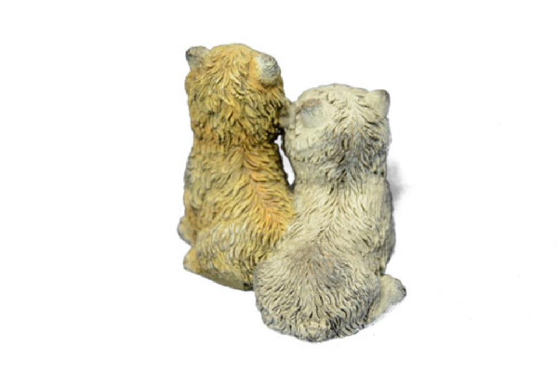 Two Sitting Terrier With A Ball Bronze Sculpture - 8