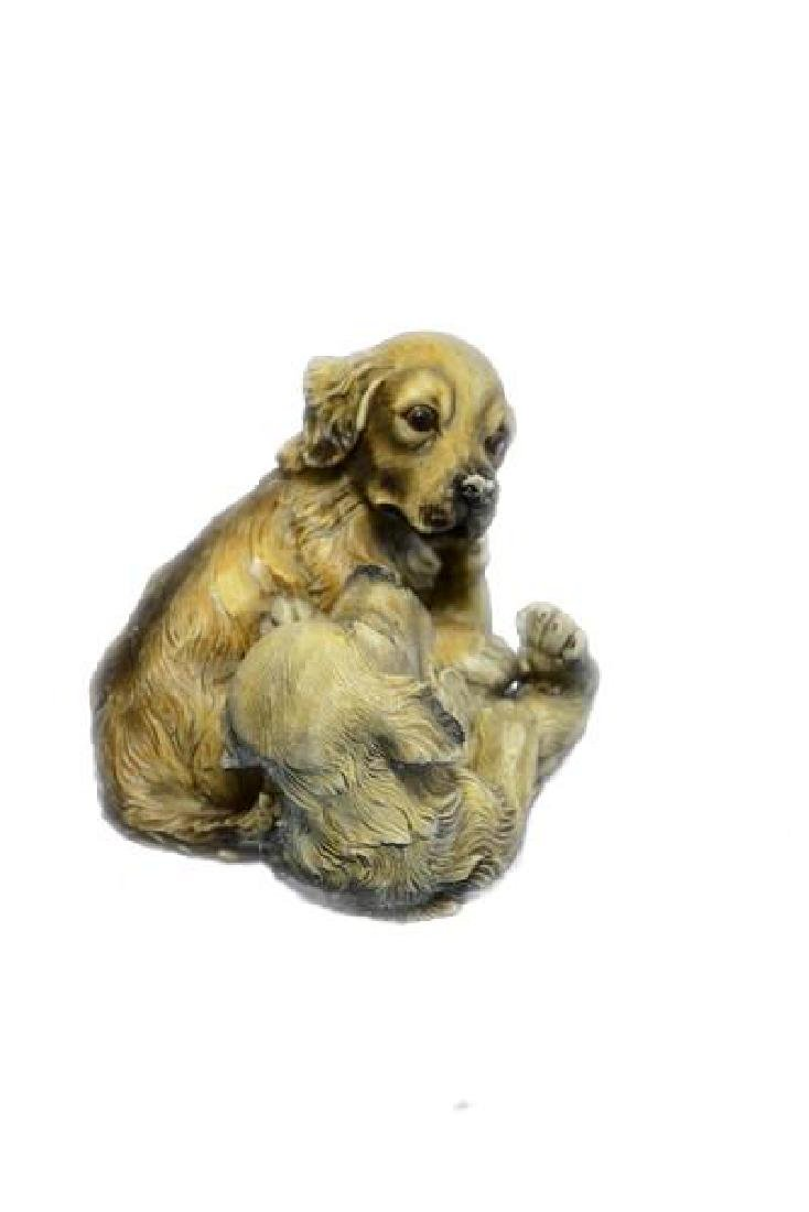 Two Puppy Labrador Playing Bronze Sculpture - 2