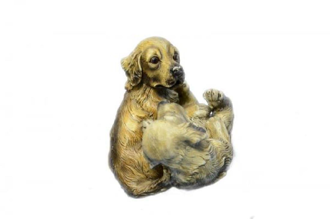 Two Puppy Labrador Playing Bronze Sculpture - 3