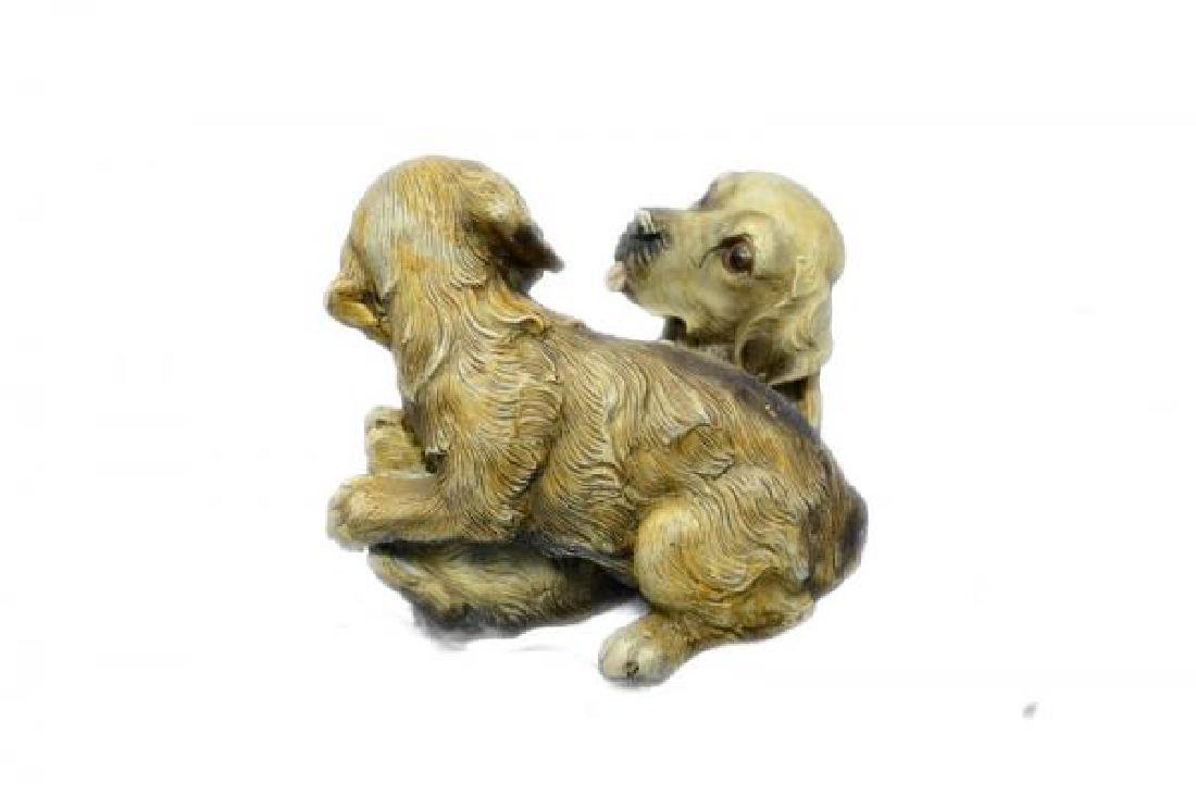 Two Puppy Labrador Playing Bronze Sculpture - 4