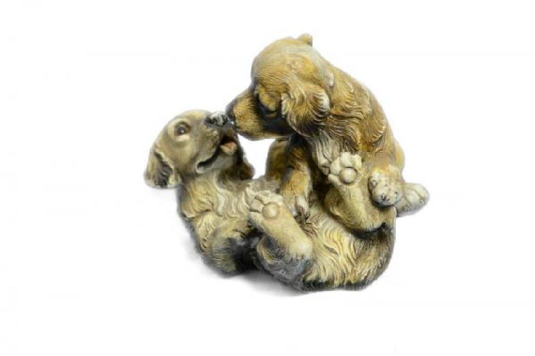 Two Puppy Labrador Playing Bronze Sculpture - 5