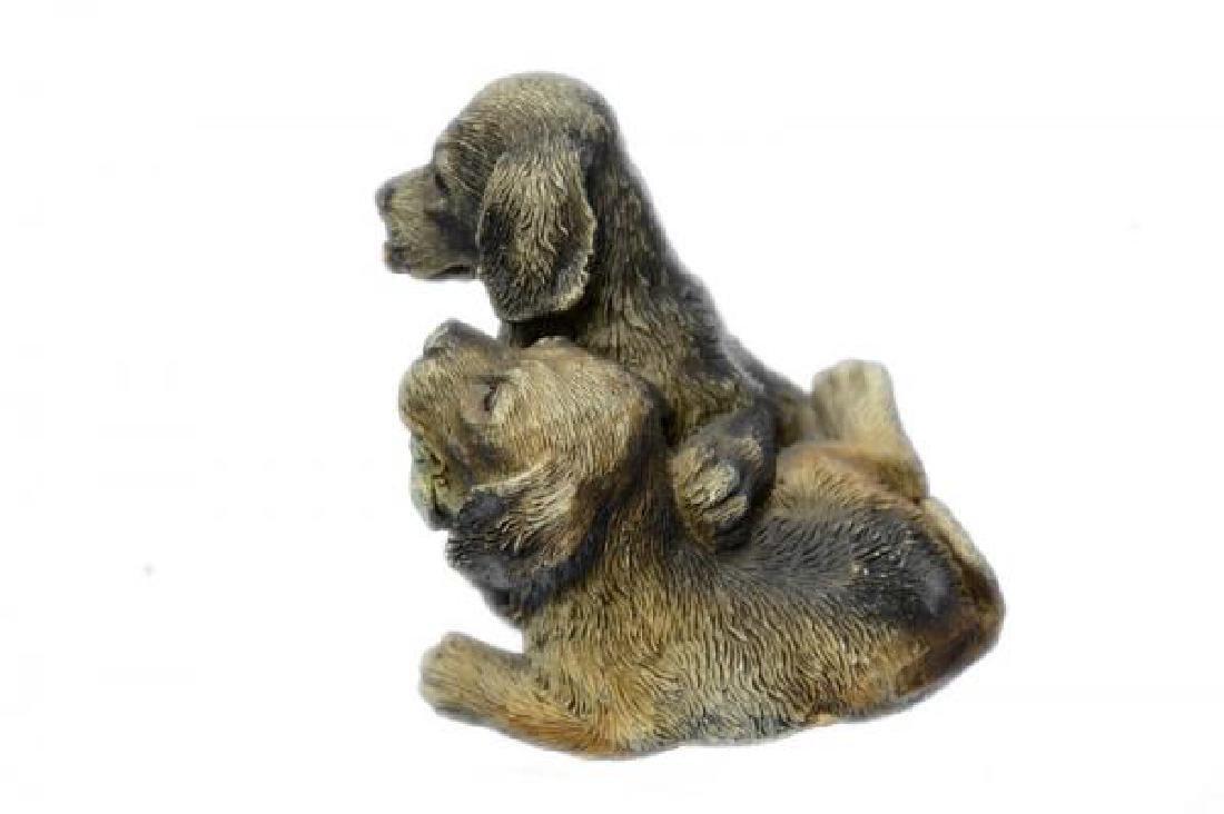 Multi Color Vienna Two Labrador Dogs Bronze Sculpture - 2